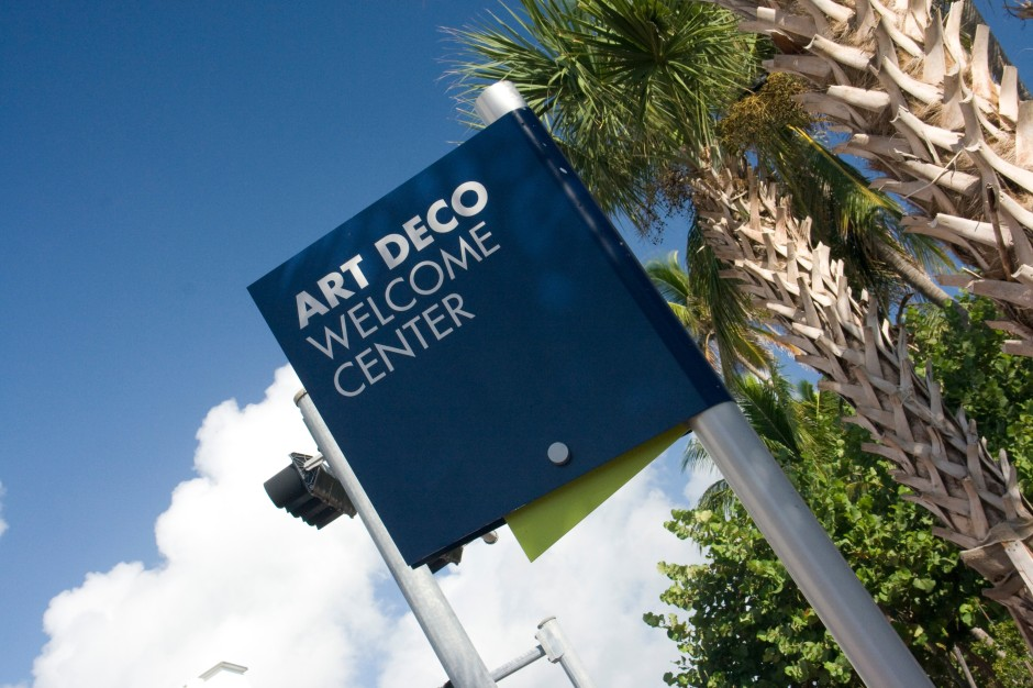 Art Deco Welcome Center sign