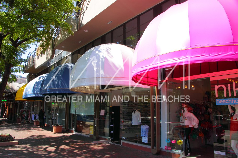 Coconut Grove Commodore Plaza colorful shop awnings
