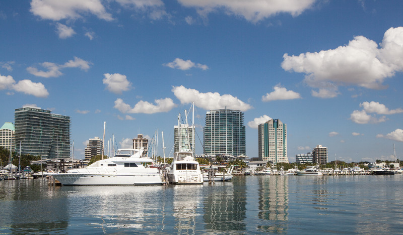 Coconut Grove marina skyline