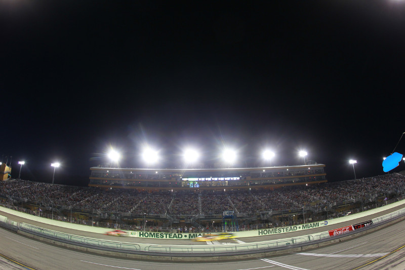Homestead-Miami Speedway race track at night
